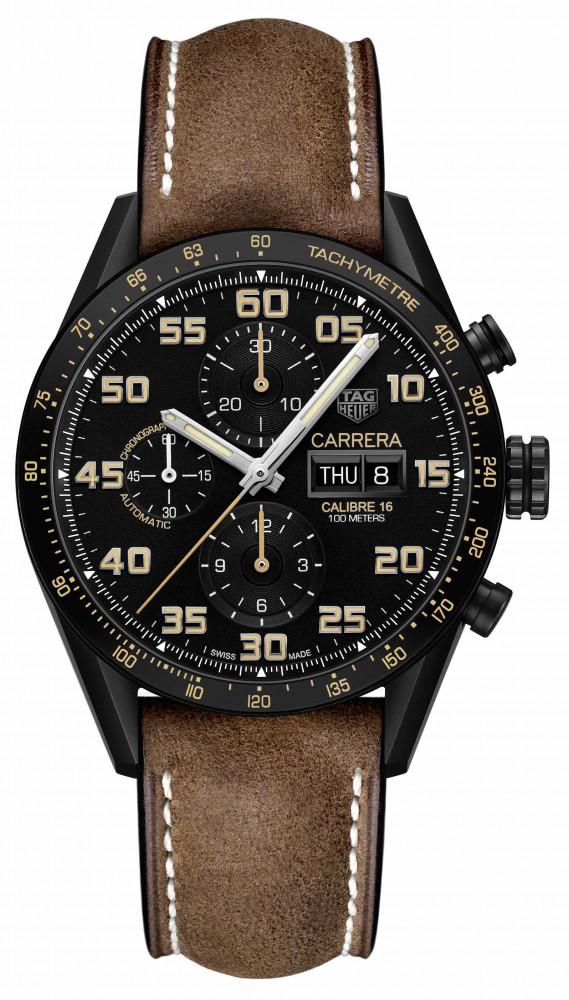 TAG Heuer Carrera Calibre 16 Day-Date Chronograph Black Titanium ... ef9324ed4783