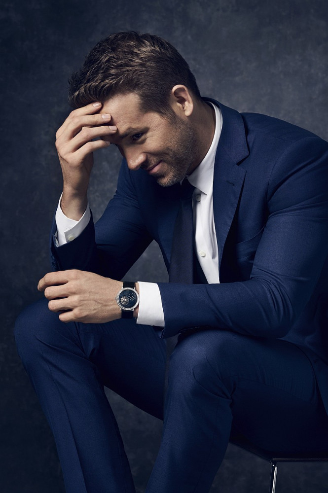 Canadian actor and producer, Ryan Reynolds, wearing Piaget Altiplano Tourbillon High Jewelry watch